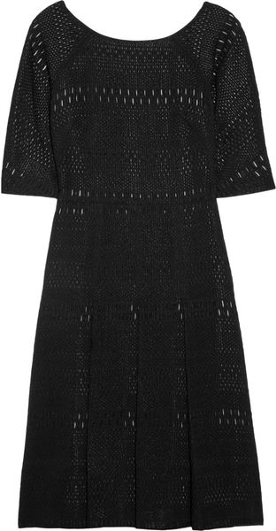 Lela Rose Patterned Woolblend Dress in Black - Lyst
