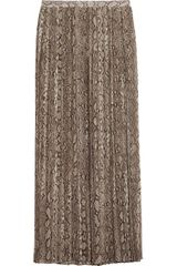Michael by Michael Kors Pleated Snake Print Georgette Maxi Skirt - Lyst