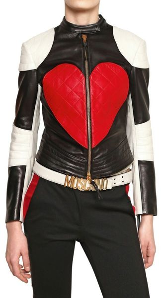 Moschino Heart and Peace Nappa Leather Jacket - Lyst