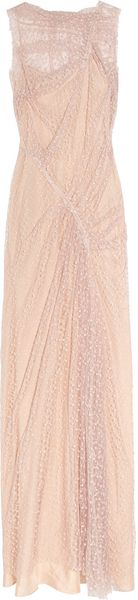 Nina Ricci Draped Floral Lace Gown in Pink (rose) - Lyst