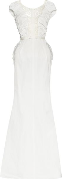 Nina Ricci Ruched Taffeta And Lace Gown in White - Lyst
