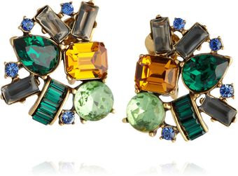 Oscar de la Renta Gold-Plated Crystal Clip Earrings - Lyst