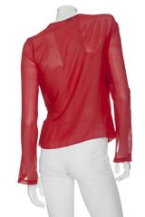 Robert Rodriguez Faux Wrap Ruffle Blouse in Red (510) - Lyst