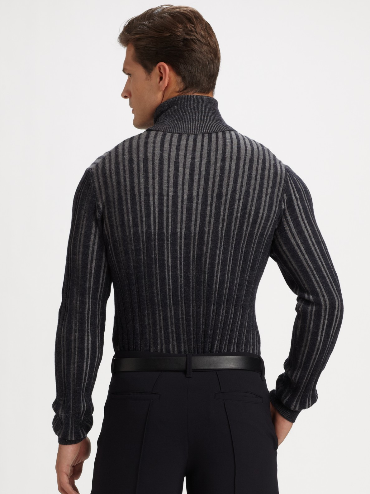 Armani Ribbed Turtleneck Sweater in Blue for Men | Lyst