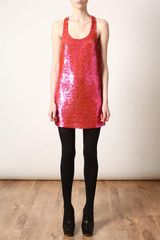 Ashish Sequined Tank Dress in Pink - Lyst