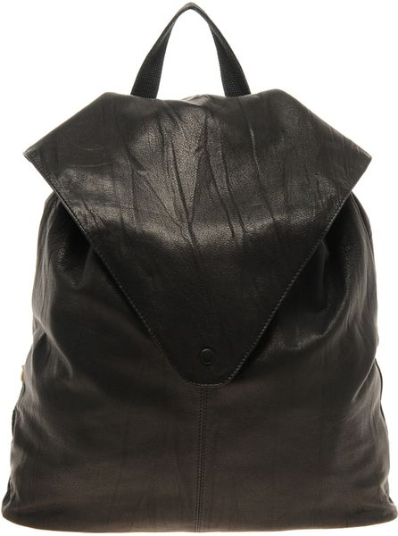 Asos Leather Backpack With Pointed Flap in Black - Lyst
