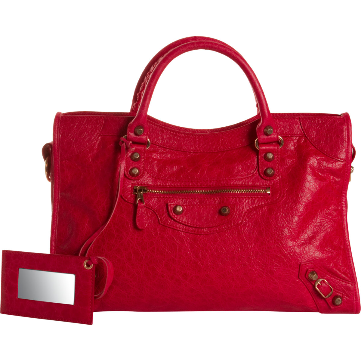 Balenciaga arena giant 12 rose gold city in red rose lyst for Balenciaga new york store
