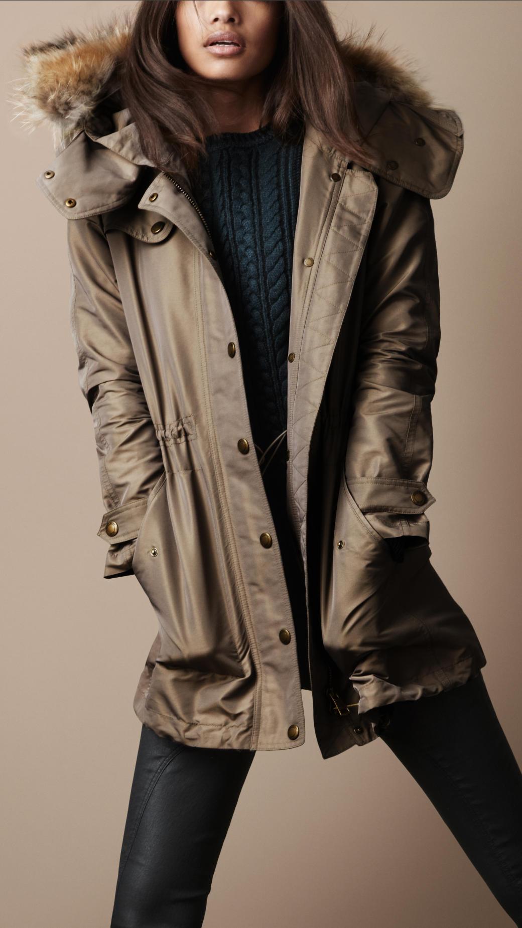 Lyst Burberry Brit Fur Trim Parka In Gray