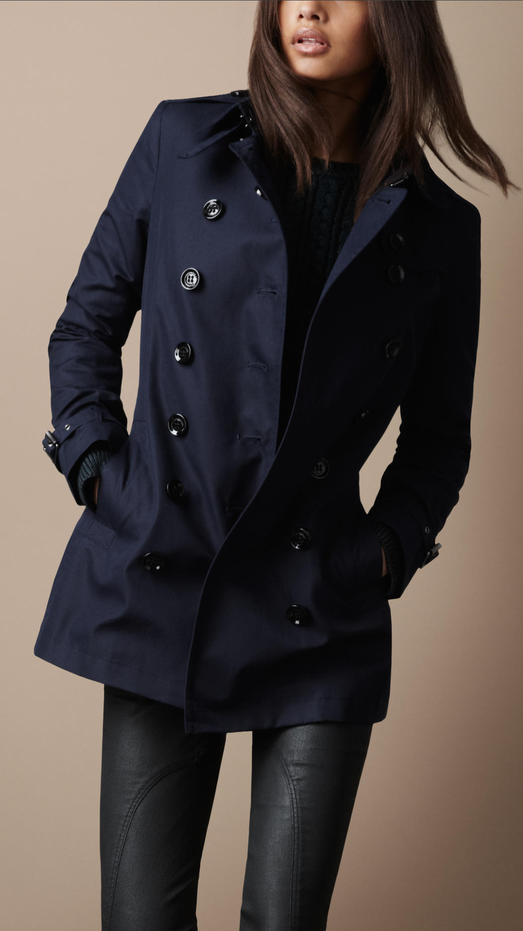 burberry brit short cotton trench coat in blue true navy. Black Bedroom Furniture Sets. Home Design Ideas