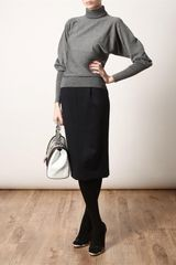Fendi Ribbed Fine Wool Turtle Neck Jumper in Gray (grey) - Lyst