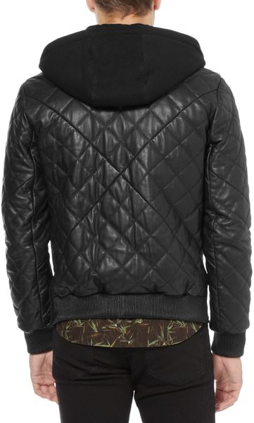 Givenchy Contrast Front Quilted Leather Bomber Jacket In