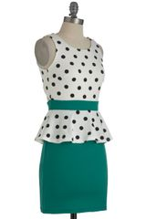 Modcloth Salt N Peplum Dress in Green (black) - Lyst