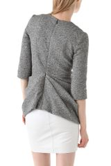 Thakoon V Neck Gathered Waist Top in Gray (grey) - Lyst