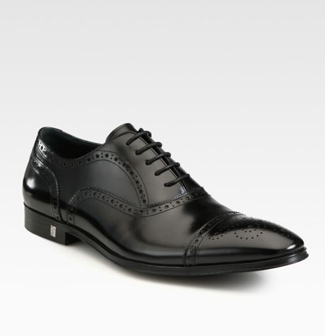 Versace Patent Leather Captoe Wingtip in Black for Men - Lyst