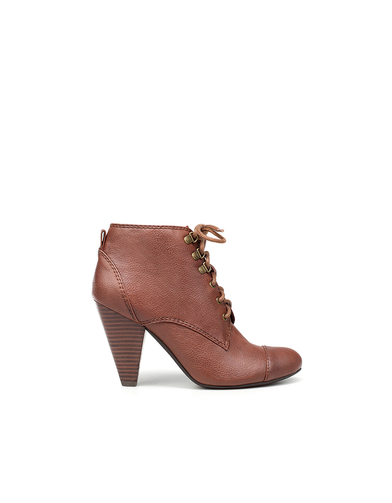 zara high heel ankle boot with laces in brown 021 lyst