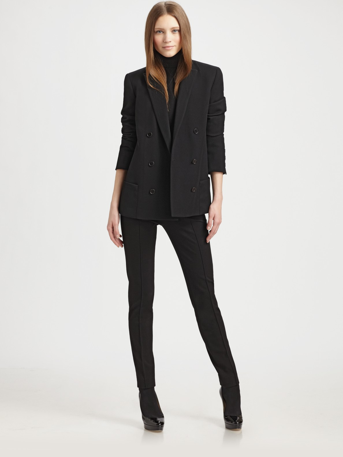 Akris punto Wool Boyfriend Blazer in Black | Lyst