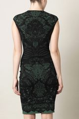 Alexander Mcqueen Victorian Puckering Jacquard Dress in Green (forest) - Lyst