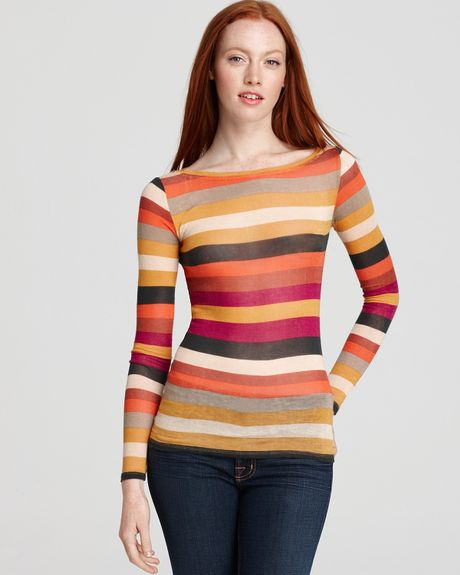 Bcbgmaxazria Top Leah Boat Neck Striped in Multicolor (bright raspberry combo) - Lyst