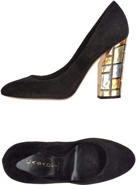 Casadei Closedtoe Slipons in Gold (black) - Lyst