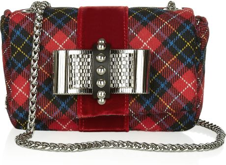 Christian Louboutin Sweety Charity Bowembellished Tartan Shoulder Bag in Multicolor (multicolored) - Lyst