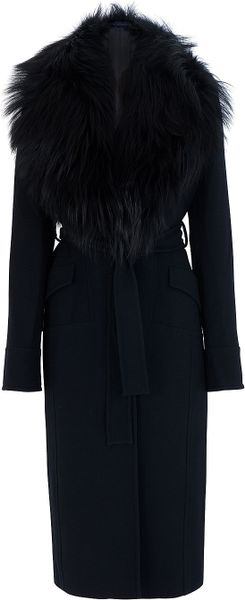 Elie Saab Fur Collar Coat - Lyst
