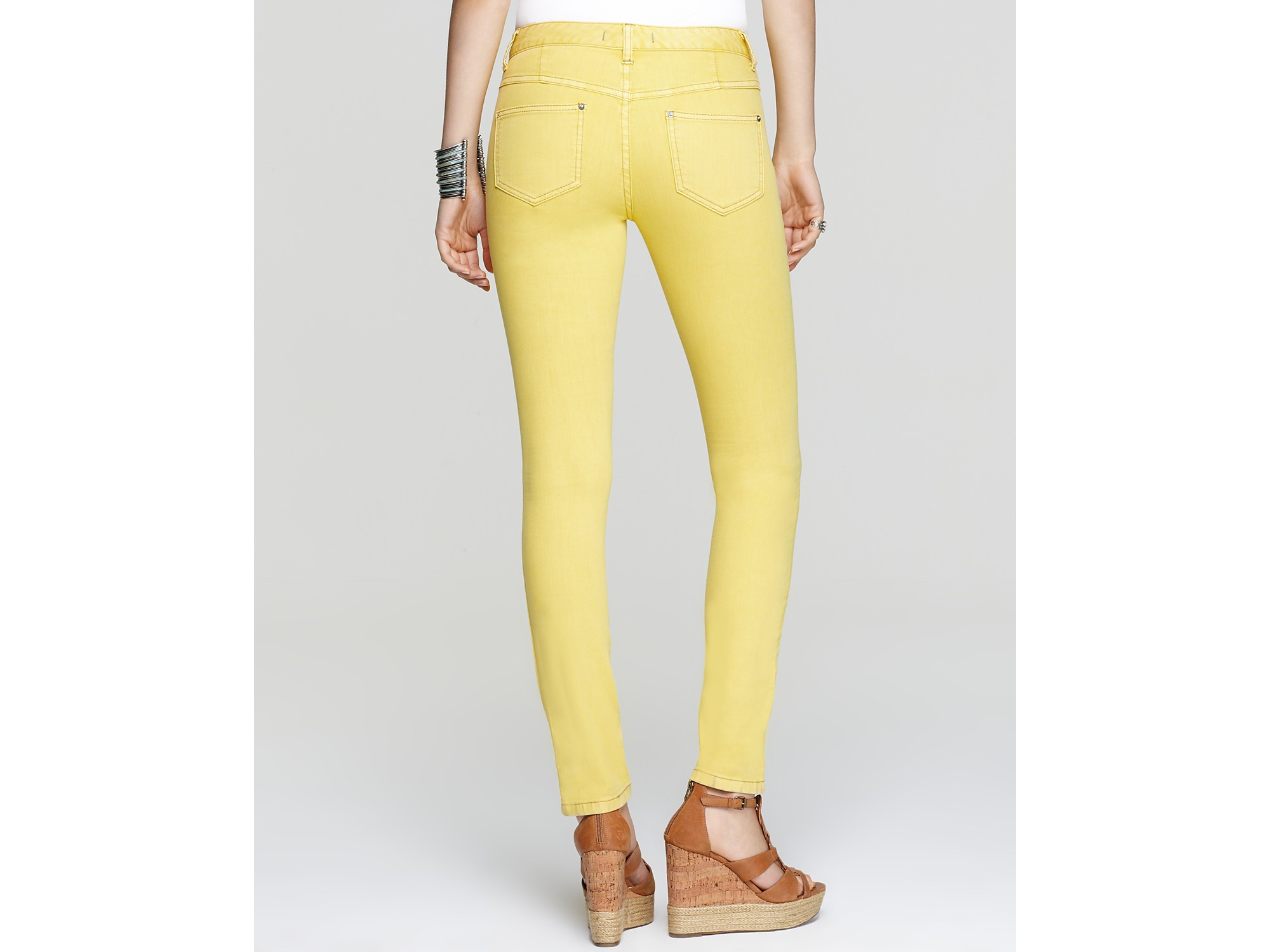 Free people Jeans Millenium High Rise Skinny in Yellow in Yellow ...