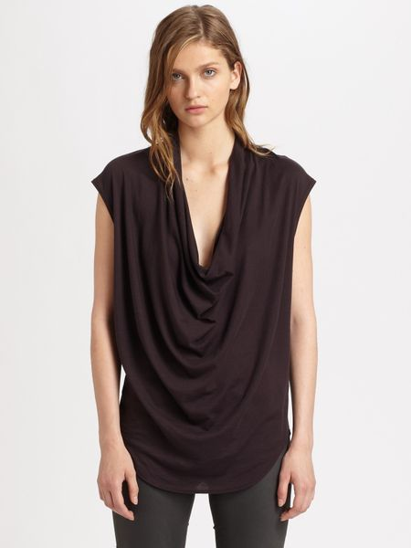 Helmut Lang Jersey Draped Top in Gray (mulberry) - Lyst