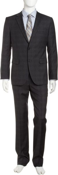 Hugo Boss Grid Twobutton Suit Dark Gray in Gray for Men (null) - Lyst