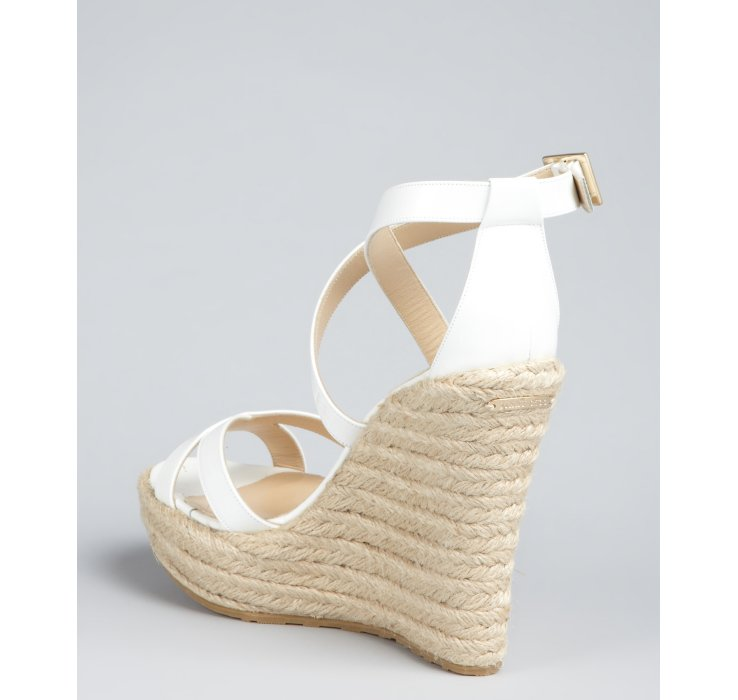 Gallery - Jimmy Choo White Patent Leather Porto Espadrille Wedges In White
