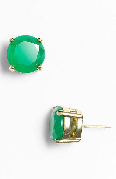 Kate Spade Colored Stone Stud Earrings in Green (green gumdrop) - Lyst