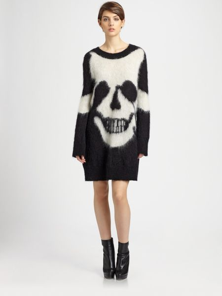 Mcq By Alexander Mcqueen Skull Intarsia Sweater Dress in Black - Lyst