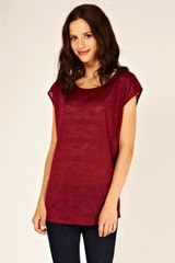 Oasis Lace Relaxed Tee in Purple - Lyst