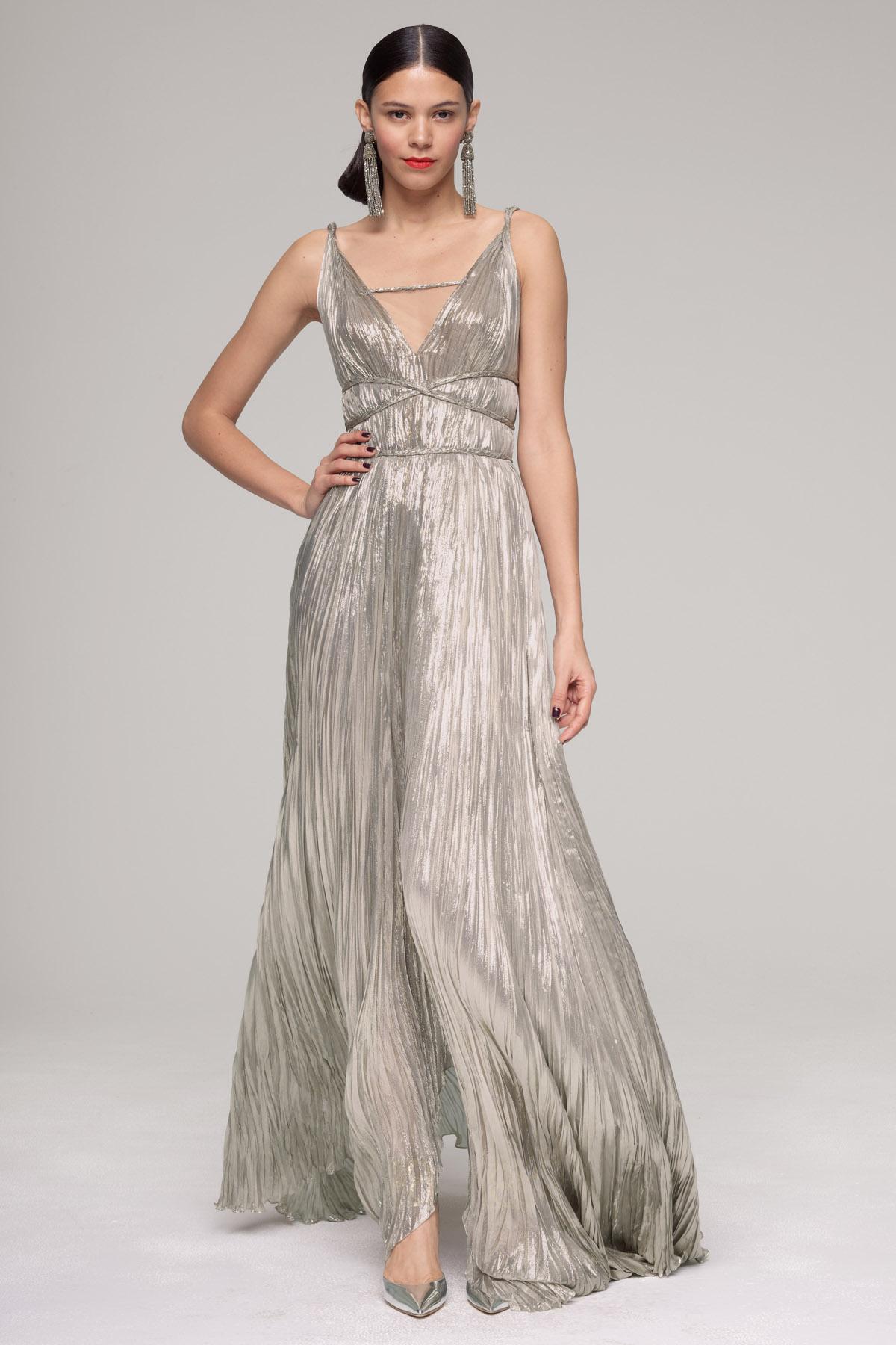 Lyst - Oscar De La Renta Grecian Column Gown in Gray
