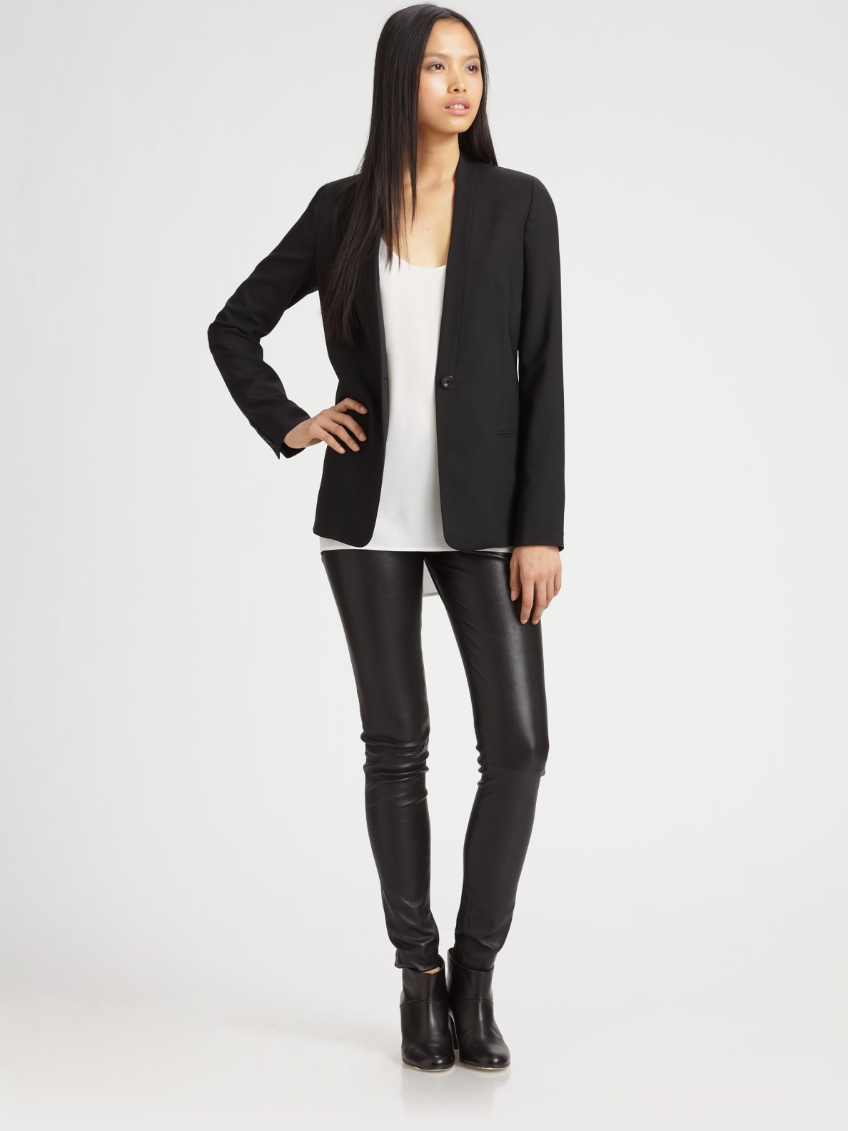 Vince Collarless Blazer in Black | Lyst