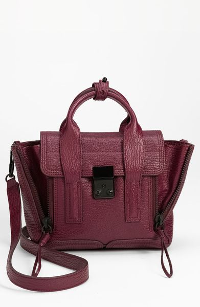 3.1 Phillip Lim Pashli Mini Leather Satchel in Red (aubergine) - Lyst