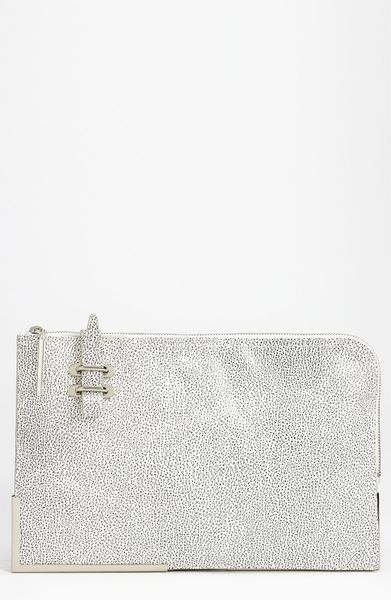 3.1 Phillip Lim Portfolio Oversized Leather Clutch in White (speckled white) - Lyst