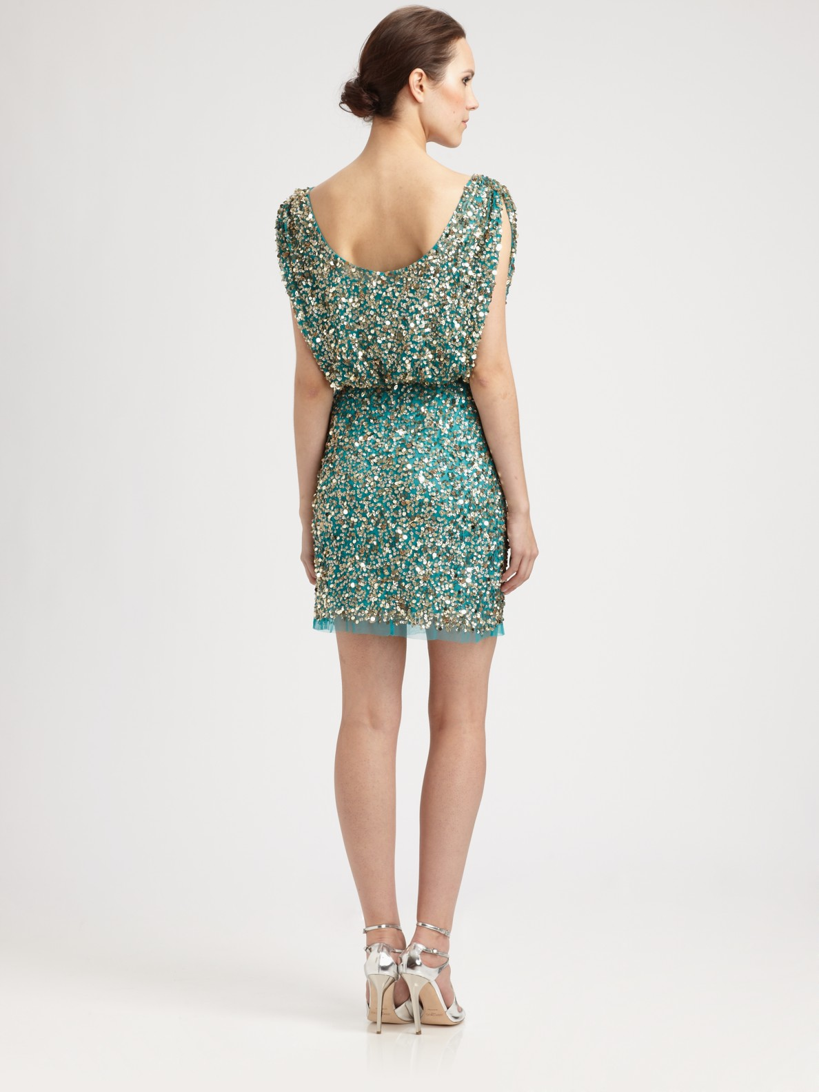 Aidan Mattox Sequined Dress In Green Lyst