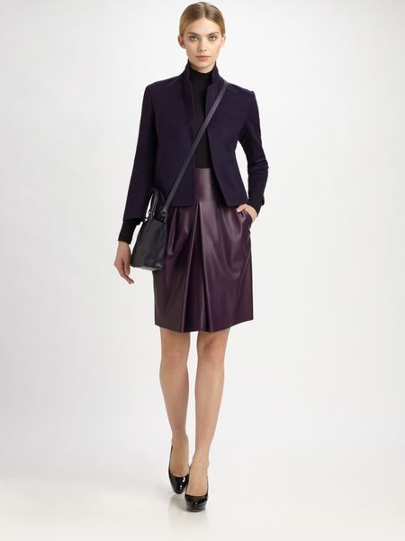 Akris Leather Skirt in Purple - Lyst