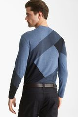 Armani Geo Print Crewneck Sweater in Blue for Men (fancy blue) - Lyst