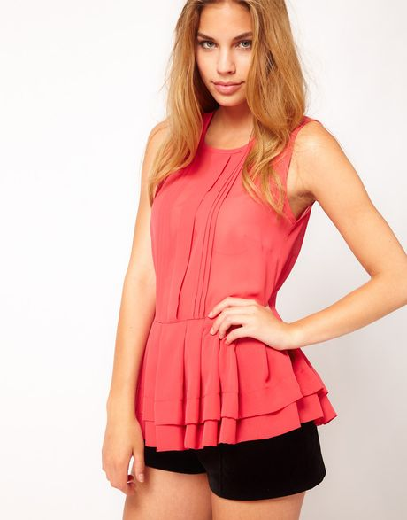 Asos Collection Asos Sheer Top with Peplum in Red (coral)