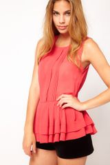 Asos Collection Asos Sheer Top with Peplum in Red (coral) - Lyst