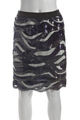 Bcbgmaxazria Navy Charcoal and Cream Sequined Elodie Scalloped Hem Skirt in Blue (navy) - Lyst