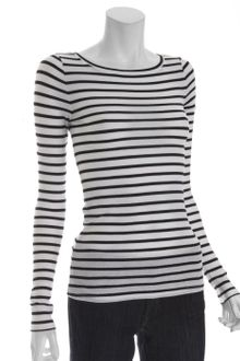 BCBGMAXAZRIA White and Black Stripe Stretch Knit Leah Boat Neck - Lyst