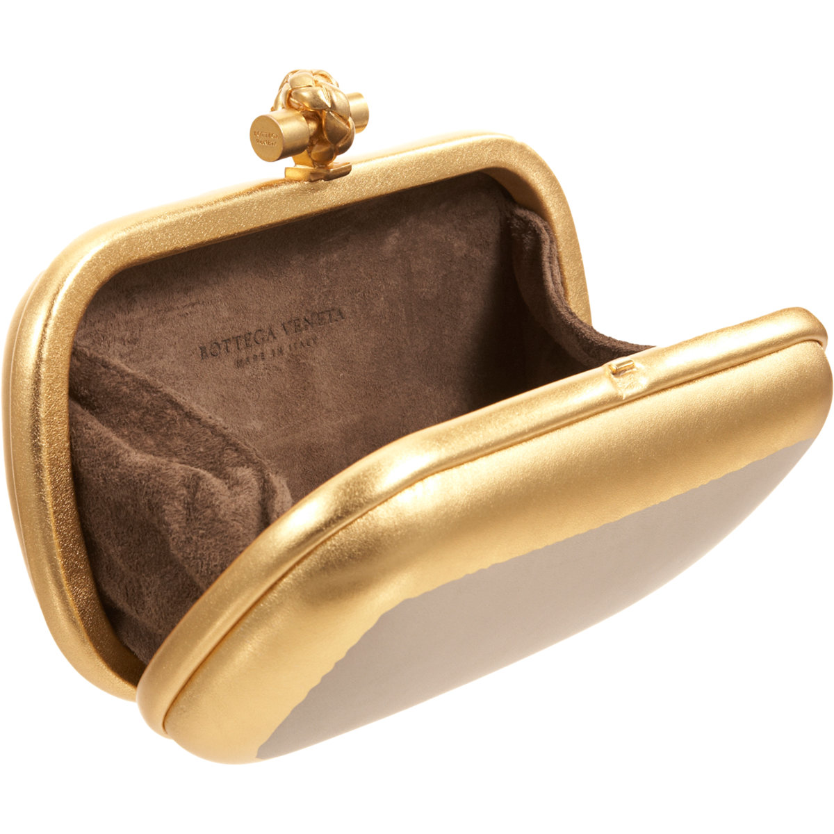 bottega veneta knot gilded waxed clutch in metallic lyst. Black Bedroom Furniture Sets. Home Design Ideas