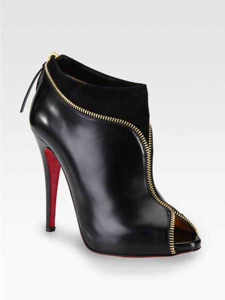Christian Louboutin Leather and Suede Zipper Ankle Boots in Black - Lyst