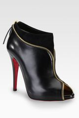 Christian Louboutin Leather and Suede Zipper Ankle Boots