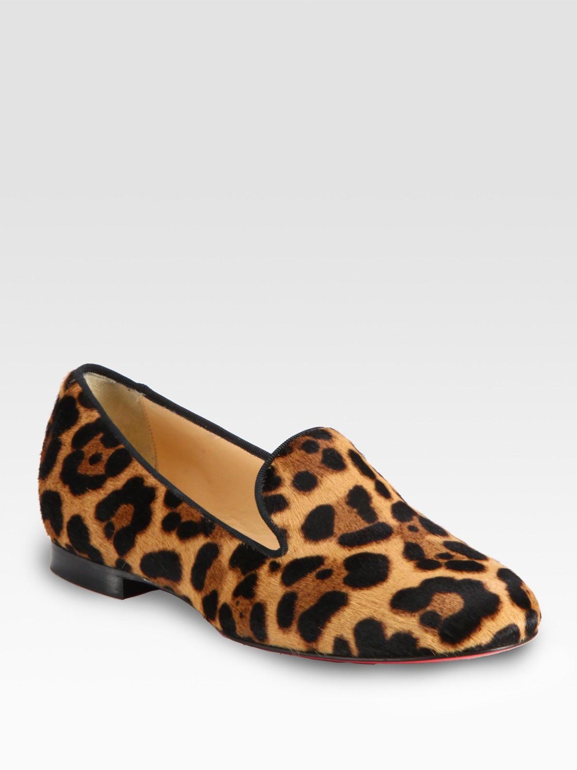 Lyst - Christian Louboutin Leopardprint Pony Hair Loafers d12556c2d664
