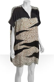Diane Von Furstenberg Crackle Print Stretch Silk Squaretan Caftan Dress - Lyst