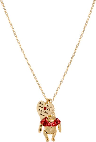 disney couture winnie the pooh pendant necklace in gold lyst
