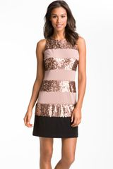 Donna Ricco Sleeveless Stripe Sequin Dress - Lyst
